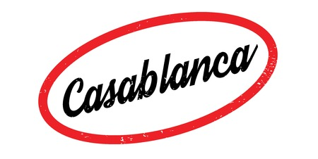 Casablanca rubber stamp. Grunge design with dust scratches. Effects can be easily removed for a clean, crisp look. Color is easily changed.