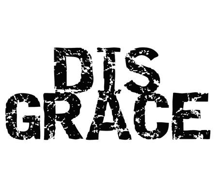 Disgrace typographic stamp visualisation concept Original series. Ilustração
