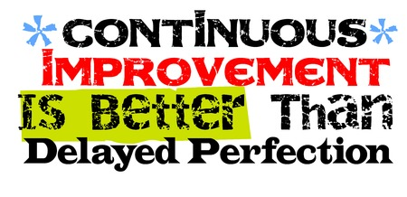 Continuous Improvement Is Better Than Delayed Perfection. Creative typographic motivational poster.