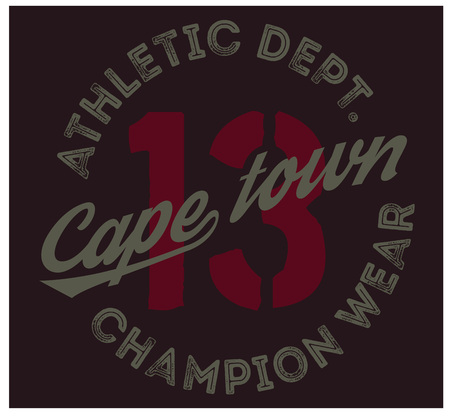 Cape town sport t-shirt design, college sport team style typography for poster, t-shirt or print.