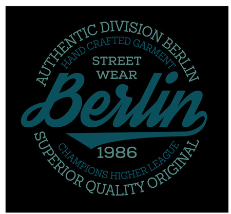 Berlin sport t-shirt design, college sport team style typography for poster, t-shirt or print. Illustration
