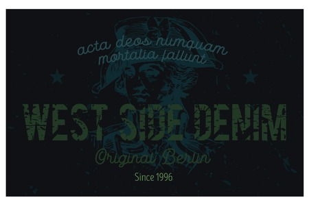 West side denim Berlin clothing tag, with latin words - acta deos numquam mortalia fallunt, meaning - mortal actions never deceive the gods.  Illustration