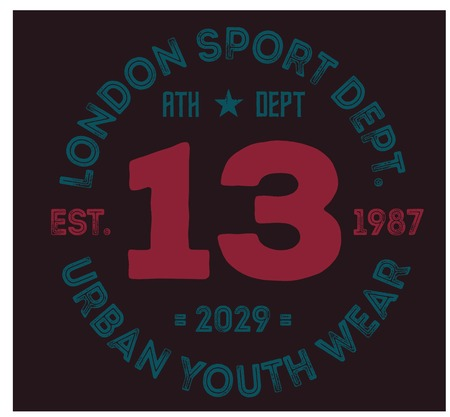 London sport t-shirt design, college sport team style typography for poster, t-shirt or print. Illustration
