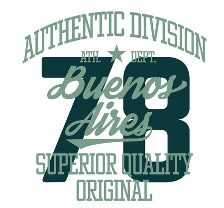 Buenos Aires-Sportt-shirt Entwurf, Hochschulsportteam-Arttypographie für Plakat, T-Shirt oder Druck. Vektorgrafik