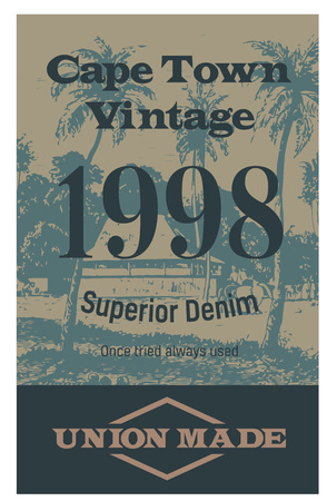 Cape town vintage clothing tag, for retail business, denim or other product. 일러스트