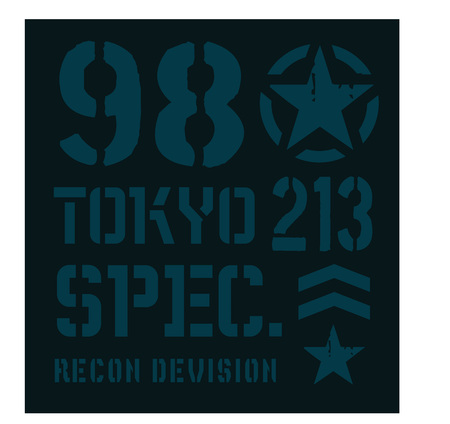 Tokyo military plate, realistic looking military typography for t-shirt, poster, print.