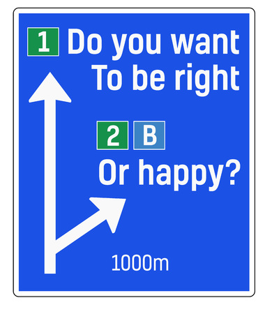 Do You Want To Be Right Or Happy sign. Road sign design for quotation typographic poster. Illusztráció