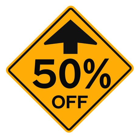 50 percent sale attention plate. Road sign design for retail business poster.