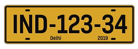 Delhi autoplaat, realistisch ogend kentekenplaatontwerp voor stadsherinnering.