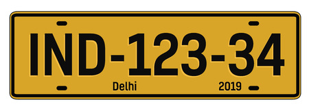 Delhi car plate, realistic looking registration plate design for city souvenir.
