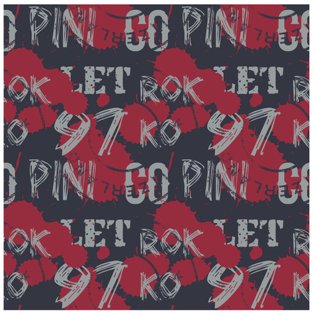 Letters and numbers abstract seamless pattern for web, textile and print. Stains and postage stamps on pattern. Çizim