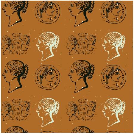 Historisch symbolen naadloos patroon voor web, textiel en print. Wapenschild, medaille of munt, portret. Grunge look. Stock Illustratie