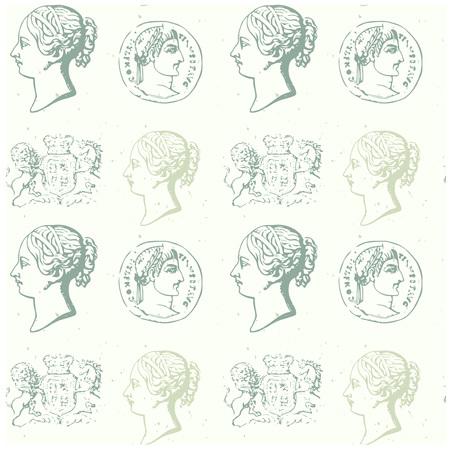 Historische munten symbolen pictogram. Stock Illustratie