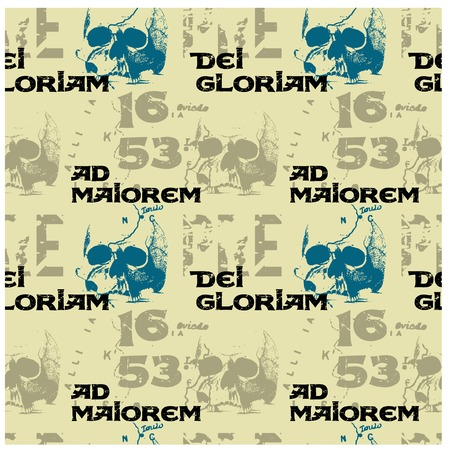 Ad maiorem Dei gloriam means to the greater glory of God - in latin language seamless pattern for web, textile and print.