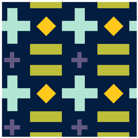 Crosses and rectangles seamless pattern. Design for print, fabric, textile. Seamless wallpaper