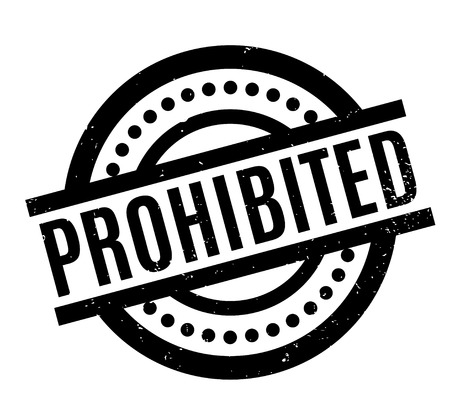 Prohibited rubber stamp. Grunge design with dust scratches. Effects can be easily removed for a clean, crisp look. Color is easily changed. Illustration