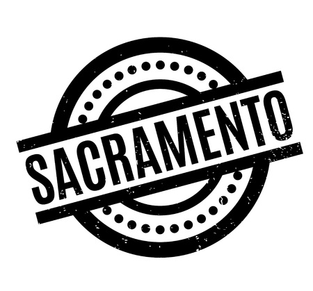 Sacramento rubber stamp. Grunge design with dust scratches. Effects can be easily removed for a clean, crisp look. Color is easily changed.