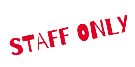 Staff Only rubber stamp. Grunge design with dust scratches. Effects can be easily removed for a clean, crisp look. Color is easily changed. Vectores