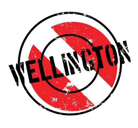 Wellington rubber stamp. Grunge design with dust scratches. Effects can be easily removed for a clean, crisp look. Color is easily changed. Illustration