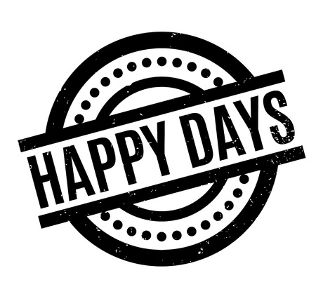 Happy Days rubber stamp. Grunge design with dust scratches. Effects can be easily removed for a clean, crisp look. Color is easily changed. Illustration