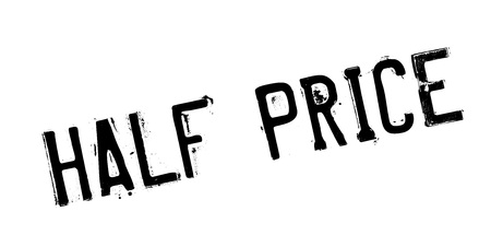 Half Price rubber stamp. Grunge design with dust scratches. Effects can be easily removed for a clean, crisp look. Color is easily changed.