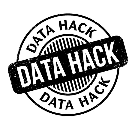 Data Hack rubber stamp. Grunge design with dust scratches. Effects can be easily removed for a clean, crisp look. Color is easily changed.