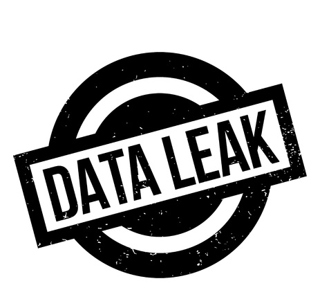 Data Leak rubber stamp. Grunge design with dust scratches. Effects can be easily removed for a clean, crisp look. Color is easily changed. Ilustração