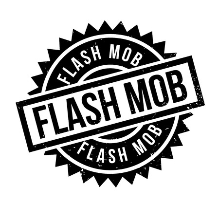 Flash Mob rubber stamp. Grunge design with dust scratches. Effects can be easily removed for a clean, crisp look. Color is easily changed. Ilustração
