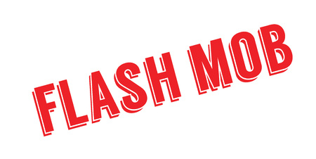 Flash Mob rubber stamp. Grunge design with dust scratches. Effects can be easily removed for a clean, crisp look. Color is easily changed. Illustration