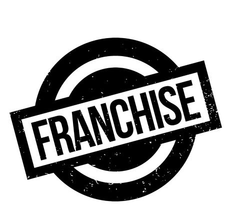 Franchise rubber stamp. Grunge design with dust scratches. Effects can be easily removed for a clean, crisp look. Color is easily changed.