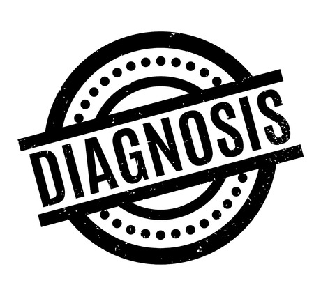 Diagnosis rubber stamp. Grunge design with dust scratches. Effects can be easily removed for a clean, crisp look. Color is easily changed.