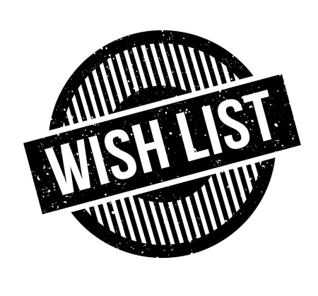 Wish List rubber stamp. Grunge design with dust scratches. Effects can be easily removed for a clean, crisp look. Color is easily changed. Illustration