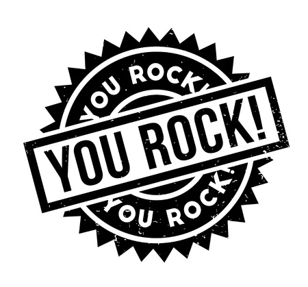 You Rock rubber stamp. Grunge design with dust scratches. Effects can be easily removed for a clean, crisp look. Color is easily changed. Stock Illustratie