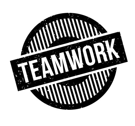 Teamwork rubber stamp. Grunge design with dust scratches. Effects can be easily removed for a clean, crisp look. Color is easily changed.