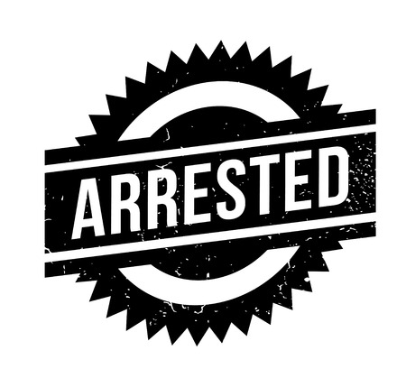 Arrested rubber stamp. Grunge design with dust scratches. Effects can be easily removed for a clean, crisp look. Color is easily changed.