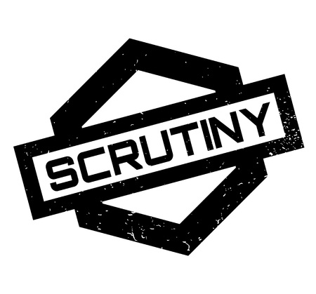 Scrutiny rubber stamp. Grunge design with dust scratches.  イラスト・ベクター素材
