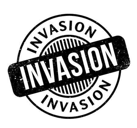 Invasion rubber stamp. Grunge design with dust scratches. Effects can be easily removed for a clean, crisp look. Color is easily changed.