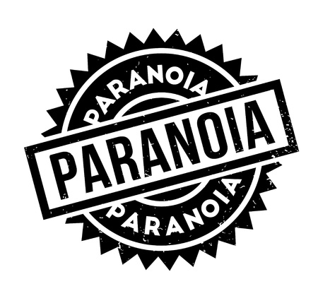 Paranoia rubber stamp. Grunge design with dust scratches. Effects can be easily removed for a clean, crisp look. Color is easily changed. 免版税图像 - 95590282