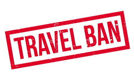 Travel Ban rubber stamp. Grunge design with dust scratches. Vector illustration.