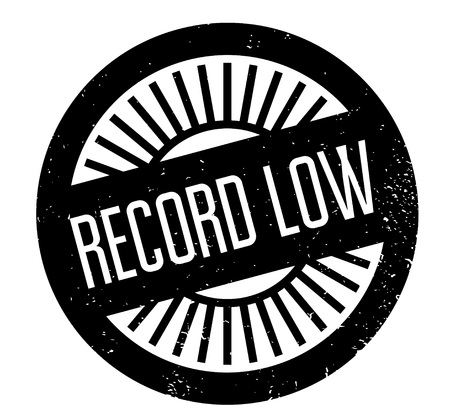 Record Low rubber stamp. Grunge design with dust scratches. Vector illustration.