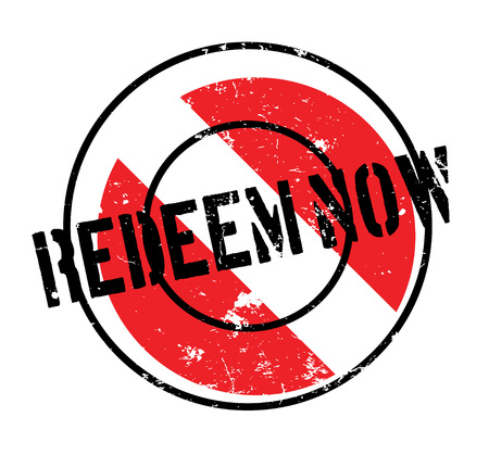 Redeem Now rubber stamp. Grunge design with dust scratches.