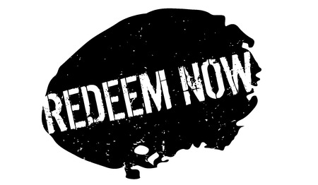 Redeem Now rubber stamp. Grunge design with dust scratches. Vector illustration.
