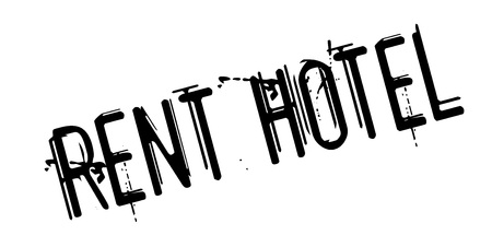 Rent Hotel rubber stamp. Grunge design with dust scratches. Effects can be easily removed for a clean, crisp look. Color is easily changed. Illustration