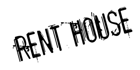 Rent House rubber stamp. Grunge design with dust scratches.