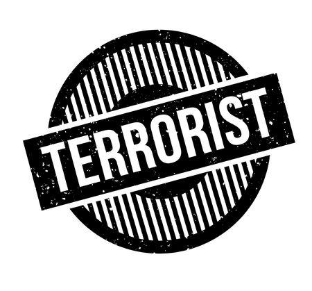 Terrorist rubber stamp. Grunge design with dust scratches.