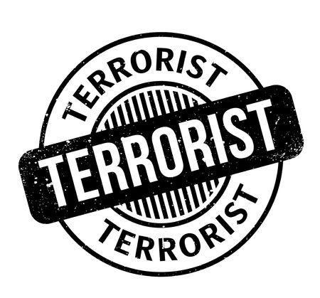 Terrorist rubber stamp. Grunge design with dust scratches. Vector illustration. Ilustração