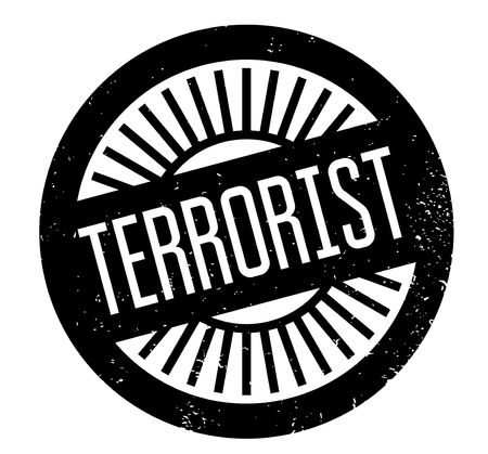 Terrorist rubber stamp. Grunge design with dust scratches.