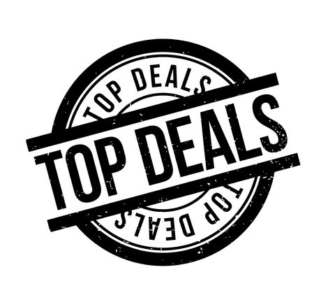 Top Deals rubber stamp. Grunge design with dust scratches.