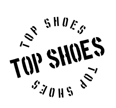 Top Shoes rubber stamp. Grunge design with dust scratches. Vector illustration.