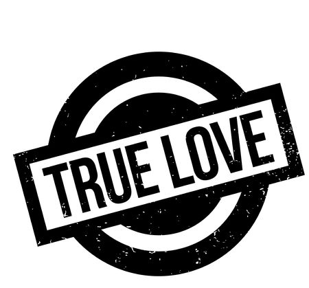True Love rubber stamp. Grunge design with dust scratches.